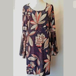 Tacera  Xl Floral Print Liquid Knit Dress